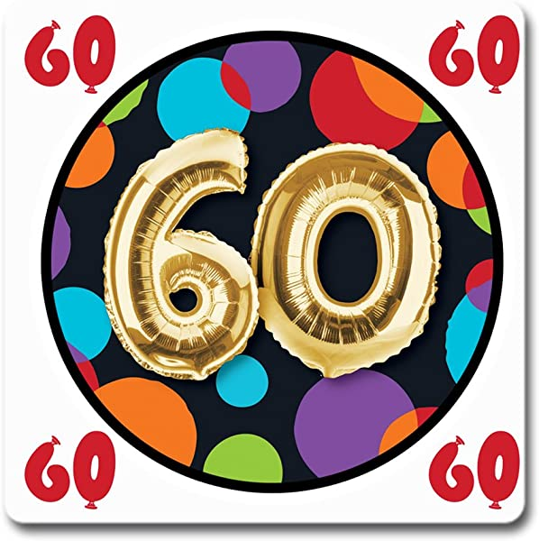60TH BALLOON BIRTHDAY COASTER 12CT By Partypro