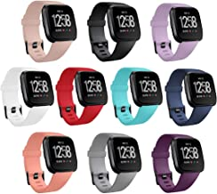 GinCoband 10PCS Fitbit Versa 2 Bands Replacement Compatible with Fitbit Versa/Versa 2/Versa Lite/SE for Women Men (10-Pack, Small)