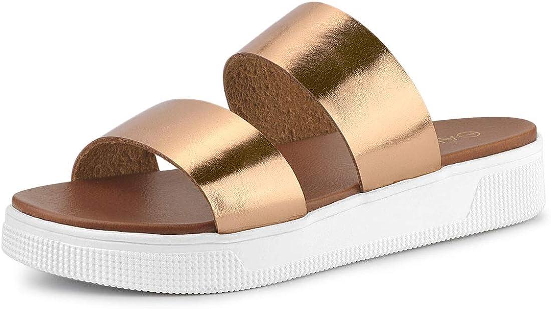 Allegra K Women's Open Toe Flatform Slides Sandals
