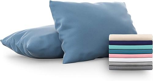 Dreamzie - Set de 2 x Taie d'Oreiller 50x70 cm, Bleu, Microfibre (100% Polyester) - Housse de Coussin pour Le Lit Con...