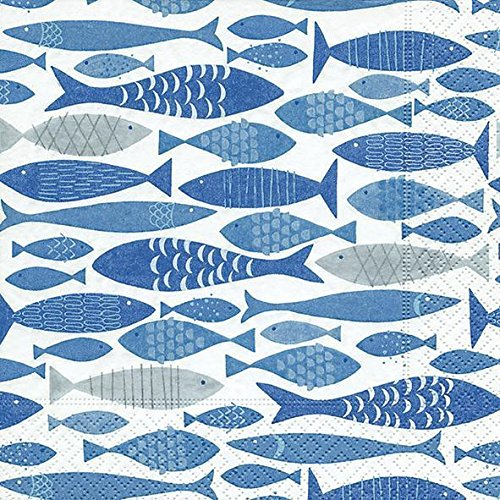 Paper+Design GmbH Serviette Motif Banc de Poissons Lot de 20