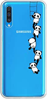 Suhctuptx Compatible with Samsung Galaxy A50 Case Cover Clear Transparent Soft TPU Silicone Rubber Bumper with Design Cute Pattern Hybrid Shockproof Back Protector Cover(Pandas)