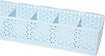 5 Cells Plastic Organizer Storage Box Tie Bra Socks Drawer Cosmetic Divider Housekeeping,Blue