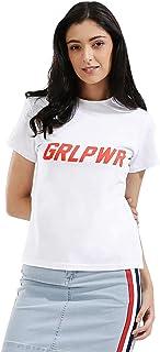 Koovs White Round Neck T-Shirt For Women