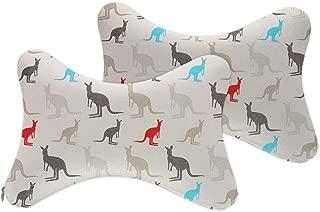 NiYoung 2pcs Universal Car Seat Pillow Breathable Car Auto Head Neck Rest Cushion Headrest Pillow Pad (Australia Kangaroos)