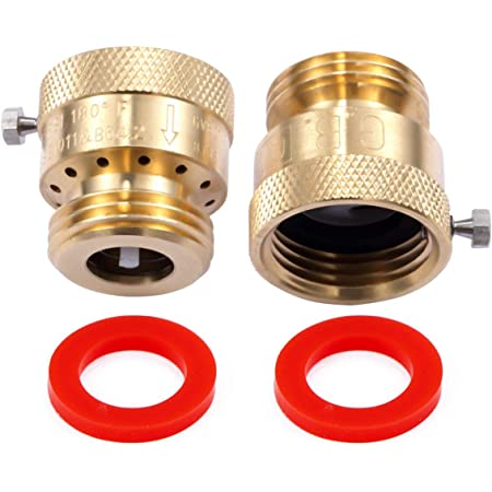 "Litorange 2 Pack Brass 3/4"" Inch GHT Hose Bibb Connector Backflow Preventer Vacuum Breaker"