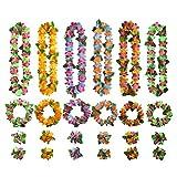 ANBET Corona Hawaiana, 6 Set Hawaianas Leis Luau Flores Favores de Fiesta Que Incluyen Coronas Hawaianas Pulseras Diademas