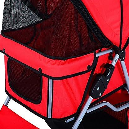 PawHut Pet Stroller Cat Dog Basket Zipper Entry Fold Cup Holder Carrier Cart Wheels Travel Red 9