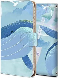 AQUOS sense4 basic ケース 手帳型 アクオス センス4 basic カバー sense4 basic 耐衝撃 スマホケース aquos sense4 純正 花柄全機種対応 線画-鯨と風鈴 アニマル アニメ かわいい 15126099