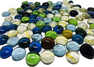 3 Lb (Approx 300 Count) 3 Bags Mixed Color Glass Gems Pebbles Stones Flat Marbles for Vase Accents and Crafting