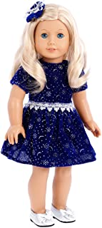 DreamWorld Collections - Midnight Blue - 3 Piece Outfit - Dark Blue Sparkling Holiday Dress with Matching Silver Shoes and Headpiece - Clothes Fits 18 Inch American Girl Doll (Doll Not Included)