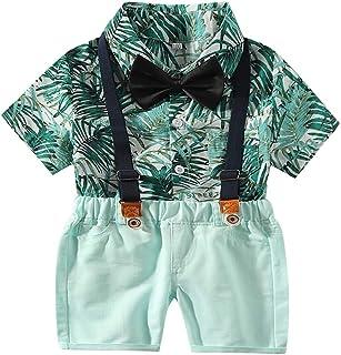 LEXUPE Infant Baby Boys Gentleman Bart Strampler Hosentr/äger Strap Shorts Set Outfits