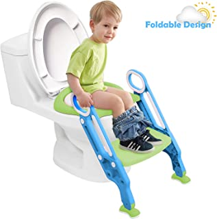 Potty Training Seat for Kids, Adjustable Toddler Toilet Potty Chair Step Potty Ladder Toilet Training Seat for Baby with Sturdy Non-Slip Step Stool Ladder, Splash Guard, Easy to Assemble (Blue&Green)