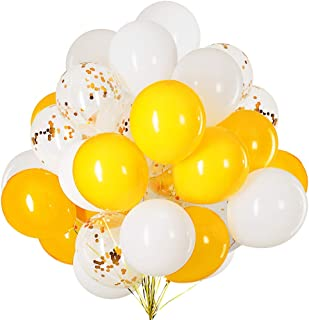 12 inch Yellow,White and Confetti Latex Balloons for Party Decoration 50 Pcs