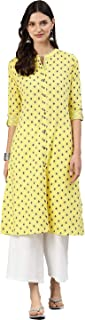 ALENA Cotton Women's Casual Kurta in Yellow Color withThree-Fourth Sleeve