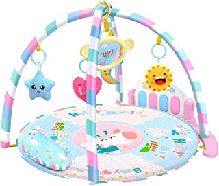 HMANE Play Mat Activity Toy Fitness Piano Music Gym Game Crawling Mats with Mirror for Baby Infant - (Pink)