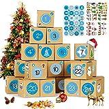 Bluelves Calendario de Adviento, Advent Calendar 2020, Calendario Adviento DIY, Calendario Adviento Navidad, con 24 Adhesivos Digitales con 72 Navidad Adhesivos, Azules Números