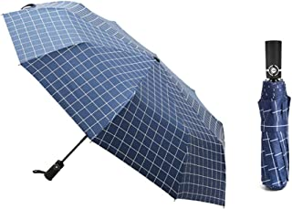 SHANGRUIYUAN-Umberllas Auto Open Travel Umbrella with 10 Reinforced Fiberglass Ribs Windproof Durable Sun Block Rain Guard (Color : Blue, Size : Free)