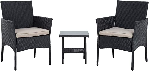 discount FDW Wicker Patio Furniture 3 Piece Patio Set Chairs Bistro Set Outdoor Rattan Conversation discount Set for Backyard 2021 Porch Poolside Lawn,Black outlet online sale