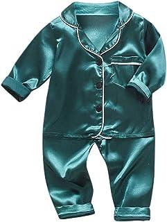Xmiral Kinder Baby Jungen Pyjamas Langarm Einfarbig Hemd Hosen Nachtwäsche Outfits