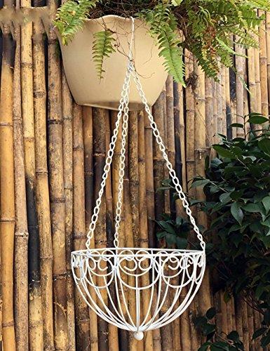 XIAOLIN- Style européen fleur en fer pot balcon en plein air panier suspendu panier à fleurs murale grand panier de fleurs -Cadre de finition de fleurs (taille : 70cm)