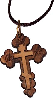 Eastern or Orthodox olive wood Cross necklace
