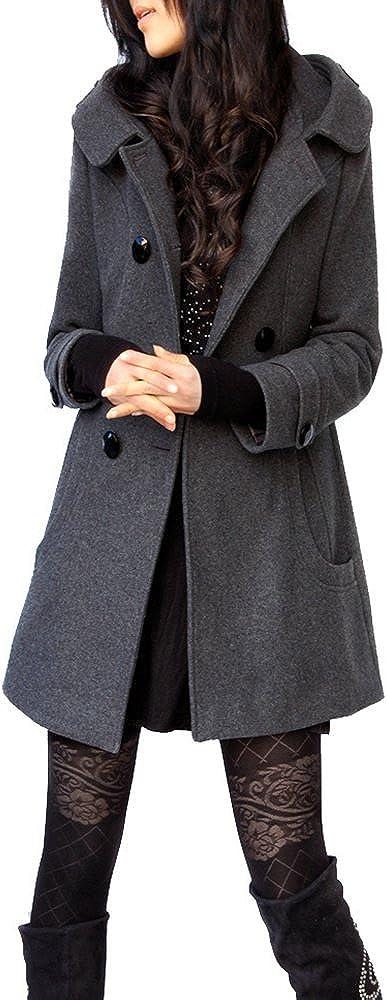 5 ALL Damen Frauen Kapuzenjacke Winter Elegant Zweireihig Hoodie Schlank Trenchcoat Anoraks Lang Mantel Jacke Wintermantel Wollmantel Outwear Grau