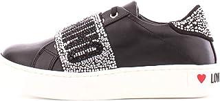 Love Moschino Sneakers Donna Cassetta Nappato Pelle Nero Strass