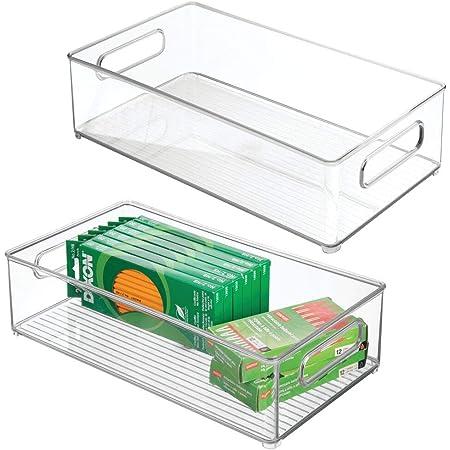 mDesign (lot de 2) boite de rangement de bureau – boite empilable rectangulaire en plastique pour articles de bureau – boite de rangement à poignées pour l'armoire ou le bureau – transparent