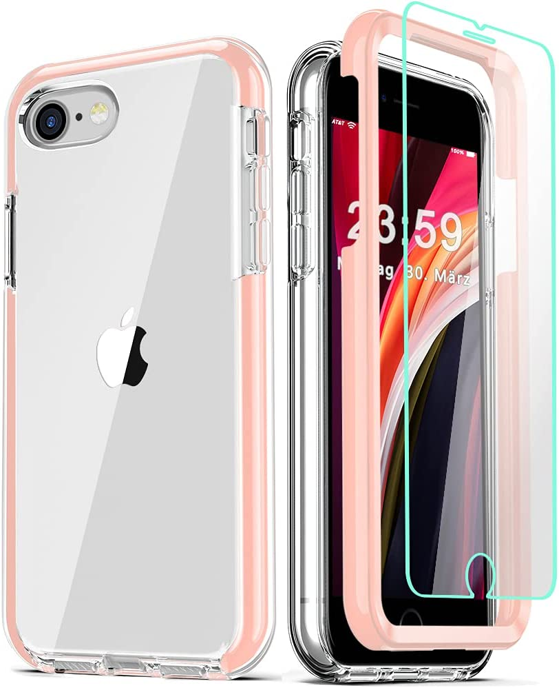 COOLQO Compatible for iPhone SE 2020 Case 4.7 Inch, with [2 x Tempered Glass Screen Protector] Clear 360 Full Body Coverage Hard PC+Soft Silicone TPU 3in1 Protective Shockproof Phone Cover_Pink