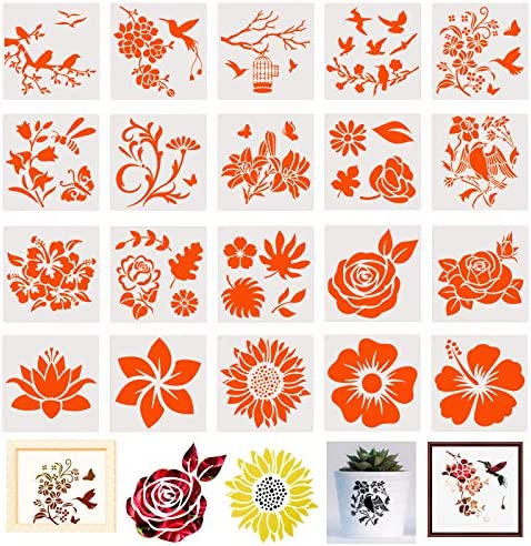 20 Pieces Flower Stencils for Painting On Wood Canvas Reusable Art Rose Sunflower Bird Leaf product image