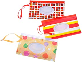 3 Pcs Wet Wipe Pouch Baby Wipe Case Holder Dispenser Refillable Moist Diaper Wet Wipe Clutch Strap Bag Wipes Container (No Wipes in It) - 9.44 x 5.31 Inches