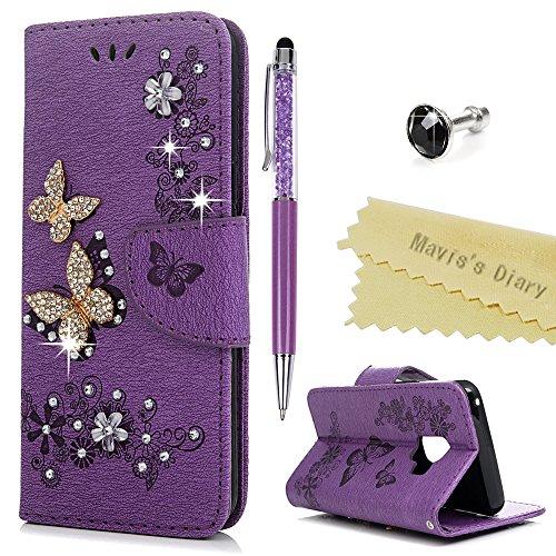 S9 Hülle Case Mavis's Diary Handyhülle Samsung Galaxy S9 Glitzer Strass Schmetterling Leder Tasche Flipcase Cover Schutzhülle Skin Ständer Schale Bumper Magnetverschluss Ledertasche Handtasche-Violett