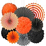 Black Orange Party Hanging Decorations - Halloween Graduation Construction Birthday Baby Shower Wedding Party Tissue Paper Pom-poms Fans Flowers Photo Booth Backdrops Decorations, 10pc