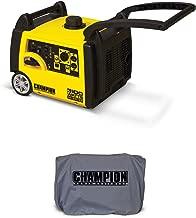 Champion 3100 Watt Quite Gasoline Inverter Generator + Generator Cover, Gray