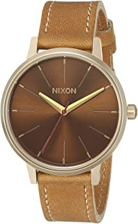 Nixon Kensington Leather Light Gold/Manuka/Saddle Casual Designer Women's Watch (37mm. Light Gold & Manuka Face/Saddle Leather Band)