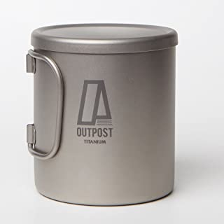 キャンプ食器 チタン ダブルウォール マグカップ 蓋付き Outpost Titanium [MH130] SLIM D.W MUG/T.LID