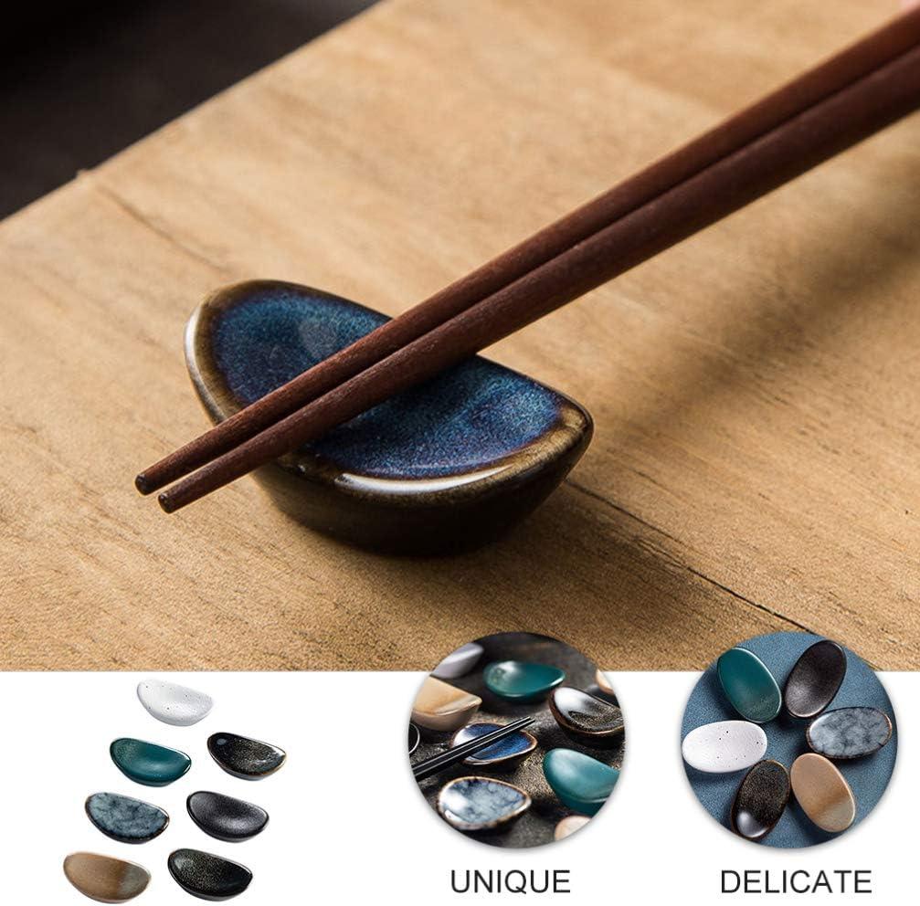 ABOOFAN 7pcs Chopsticks Rests Japanese Ceramic Dinner Spoon Stand Household Fork Holder Table Decor
