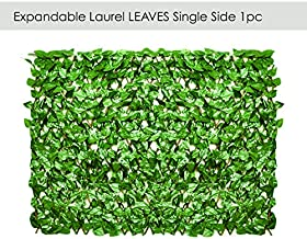 ECOOPTS Artificial Laurel Leaf Expandable/Stretchable Privacy Fence Screen, Single Side Leaves and Vine Decoration for Outdoor, Garden, Yard 1 Pack