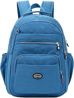 LIMING Lightweight Nylon Backpack Waterproof Laptop Bag Multi-Layer Shoulder Bag School Bag (Color : Apricot, Size : 31 * ...