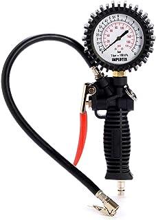 Reifenfüllmessgerät Manometer Luftdruckprüfer Reifendruckmesser Reifendruckprüfer Messbereich 0 12 bar, Schlauchlänge 400 mm