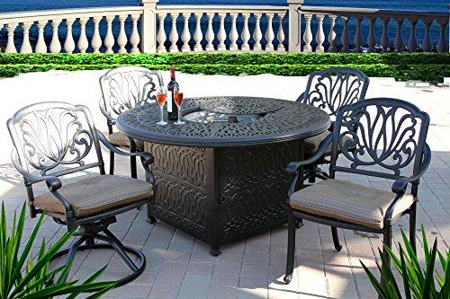 Hot Sale Heritage Outdoor Living Elisabeth Cast Aluminum 5pc Dining Set w/ 52? Round Table - Antique Bronze