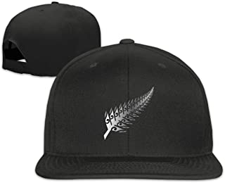 Jusxout New Zealand Maori Fern Snapback Hat Adjustable Solid Flat Baseball Cap Unisex Black
