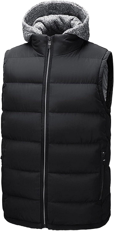 Men's Plus Size Puffer Hooded Vest Winter Warm Coats Full Zip Warm Sleeveless Cotton Blend Padded Waistcoat Jackets