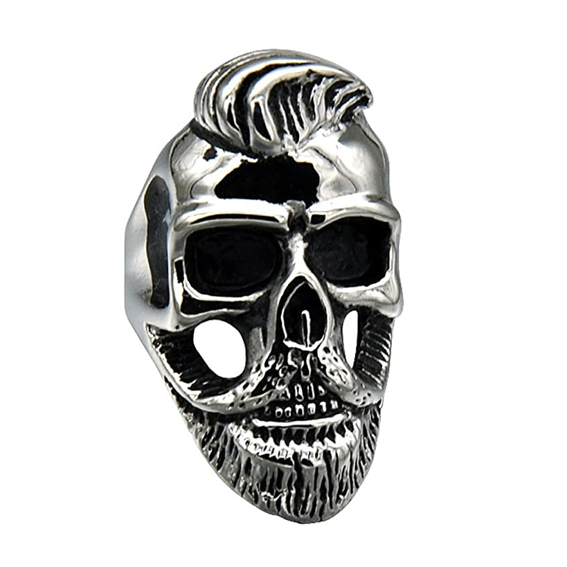 JAJAFOOK Men's Stainless Steel Ring Silver Tone Black Skull Bone with Beard,Rock,Hiphop