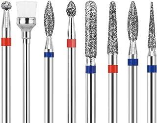 "8PCS Carbide Diamond Nail Drill Bits - 3/32"" Ball Head/Flame/Needle/Cylinder/Cone, Professional for Pedicure Manicure Cuti..."