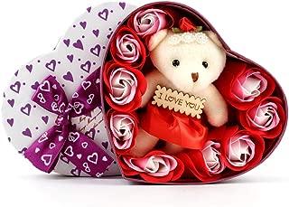 I Love You 9 Scented Red Rose Flower Petal Bath Soap Heart Box Cute Teddy Bear Lasting Women Girls Mother's Birthday SF901