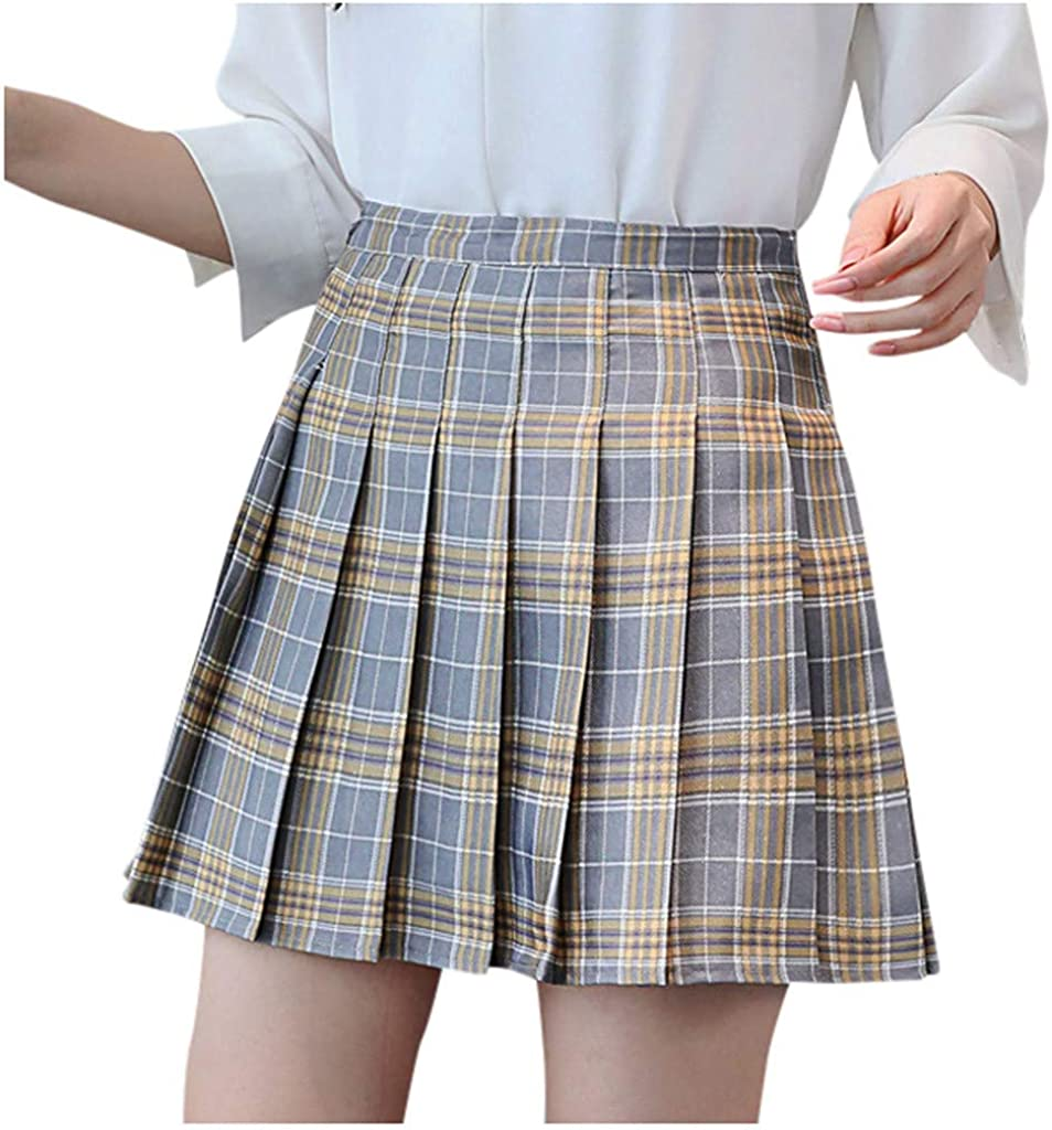 Women's Plaid In a Large discharge sale popularity Printing Pleated Skirt Cute Casual G Teens Fashion