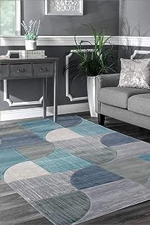 Viventez Maria Collection Modern Abstract Aqua Blue & Grey Area Rug Carpet 5'2''x7'2''