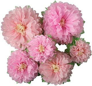 Mybbshower Pinks Flowers Decoration (11''-7'' Assorted) 6 pcs Artificial Tissue Paper Peony Nursery Wall Bridal Shower Cen...